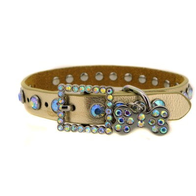Gold Rhinestone Leather Dog Collar
