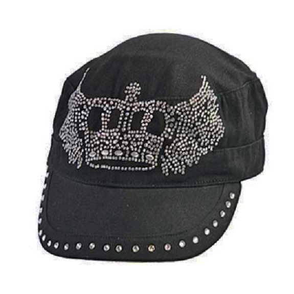 Rhinestone Studded Crown with Wings Hat
