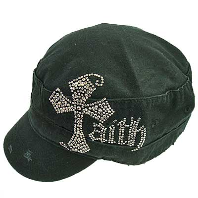 RHINESTONE STUDDED FAITH CROSS CAP