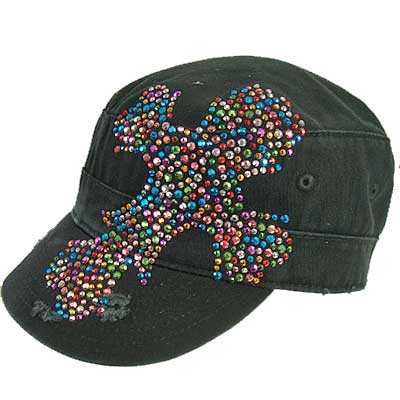 Multi-Color Rhinestone Cross Cadet Cap