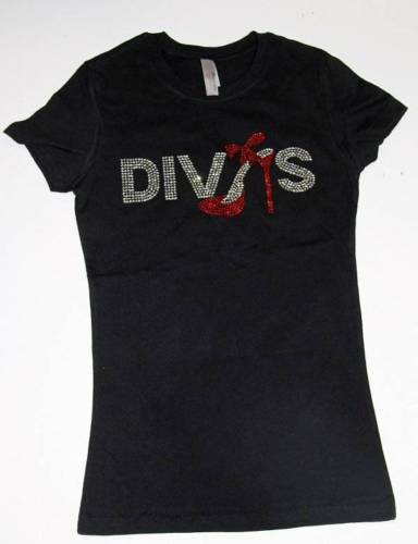 Rhinestone DIVAS w/Red Heel Crew Neck Shirt