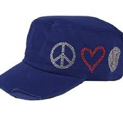 Peace, Love & Baseball Hat - Royal Blue