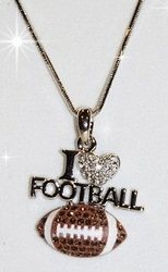 I Love Football Rhinestone Necklace