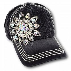AB Rhinestone Flower On Quilted Front by Olive & Pique