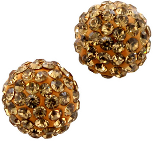 Gold Crystal Studded Round Post Earrings