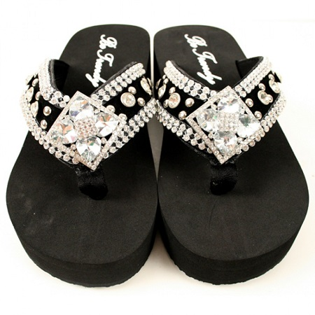 Flower Concho Rhinestone Flip Flop by Be Trendy