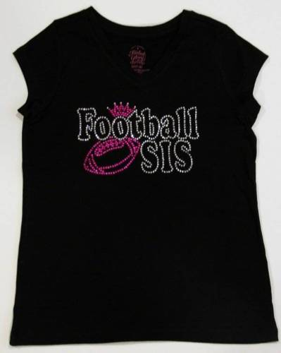 Youth Rhinestone FOOTBALL SISTER Vneck Neck Shirt