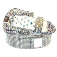 Leather Belt With Mesh Rhinestone
