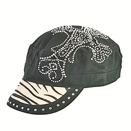 rhinestone cross cadet cap with zebra