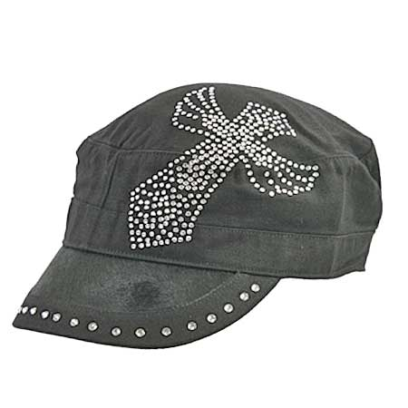 Rhinestone Cross Cap