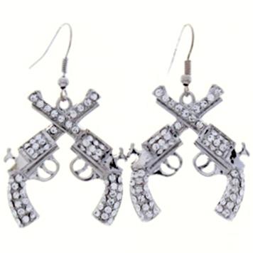 Crystal Cross Pistol Drop Earrings
