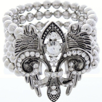 Vintage Fleur De Lis with Crystal Stretch Bracelet-Silver/Clear