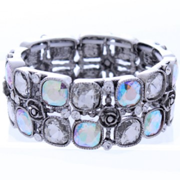 Textured with Crystal Stretch Bracelet