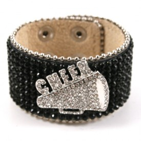Cheer Rhinestone Cuff - Black