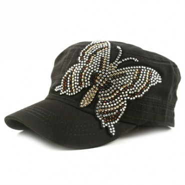 HUGE GOLD/BRONZE BUTTERFLY Cadet Cap