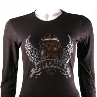 Black L/S FOOTBALL w/ WINGS Rhinestone T-SHIRT