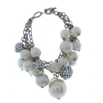 Crystal Ball with Pearl Chunky Bracelet