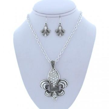 Fleur de Lis Charm Necklace Earring Set - Silver