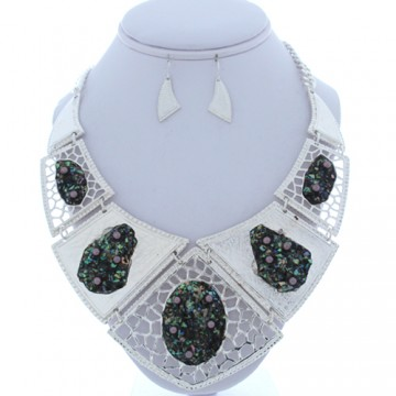 Bushed Metal with Shell Abalone Necklace Earring Set