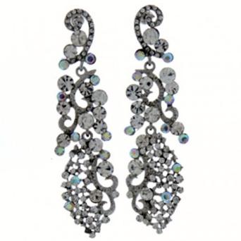 Rhinestone Crystal Drop Earrings-Silver/Clear & AB