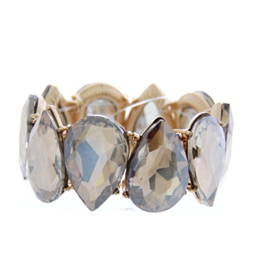 Jeweled Crystal Stretch Bracelet-Gold/Lt. Topaz