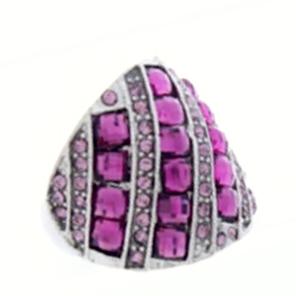 Jewel Crystal Stretch Ring-Silver/Amethyst