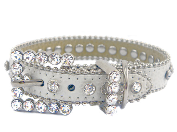 White Rhinestone Leather Dog Collar