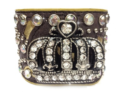Leather Crown Cuff - Brown