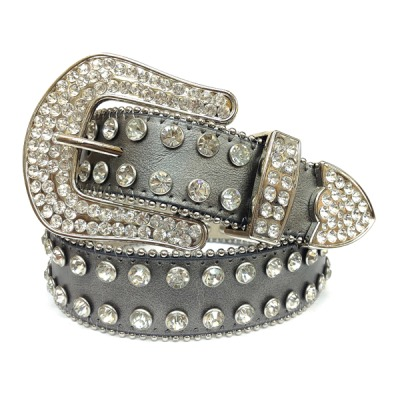 Rhinestone Pewter Leather Belt
