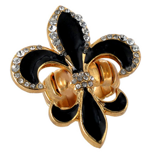 Crystal Accented Black and Goldtone Fleur de Lis Stretch Ring