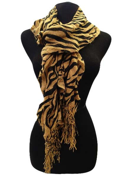 Winter Scarf  Zebra Print - Brown