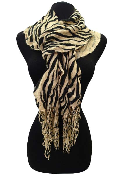 Winter Scarf Zebra Print - Tan