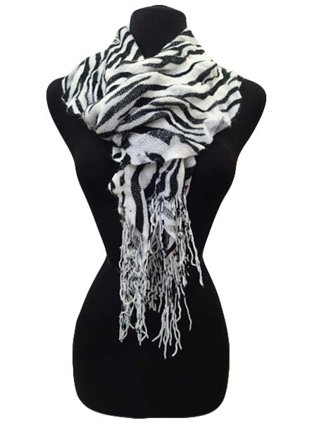 Winter Scarf Zebra Print - White
