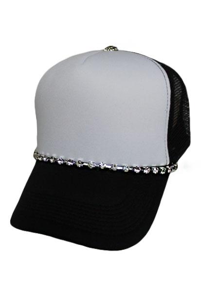 Lined Crystal Rhinestone Bling Trucker Hat