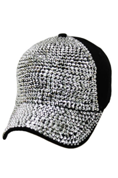 All Bling Stone Studded Distressed Cap - Black