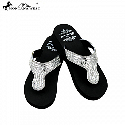 #FLP-6552 Montana West Wedge Bling Rhinestone Flop Flops